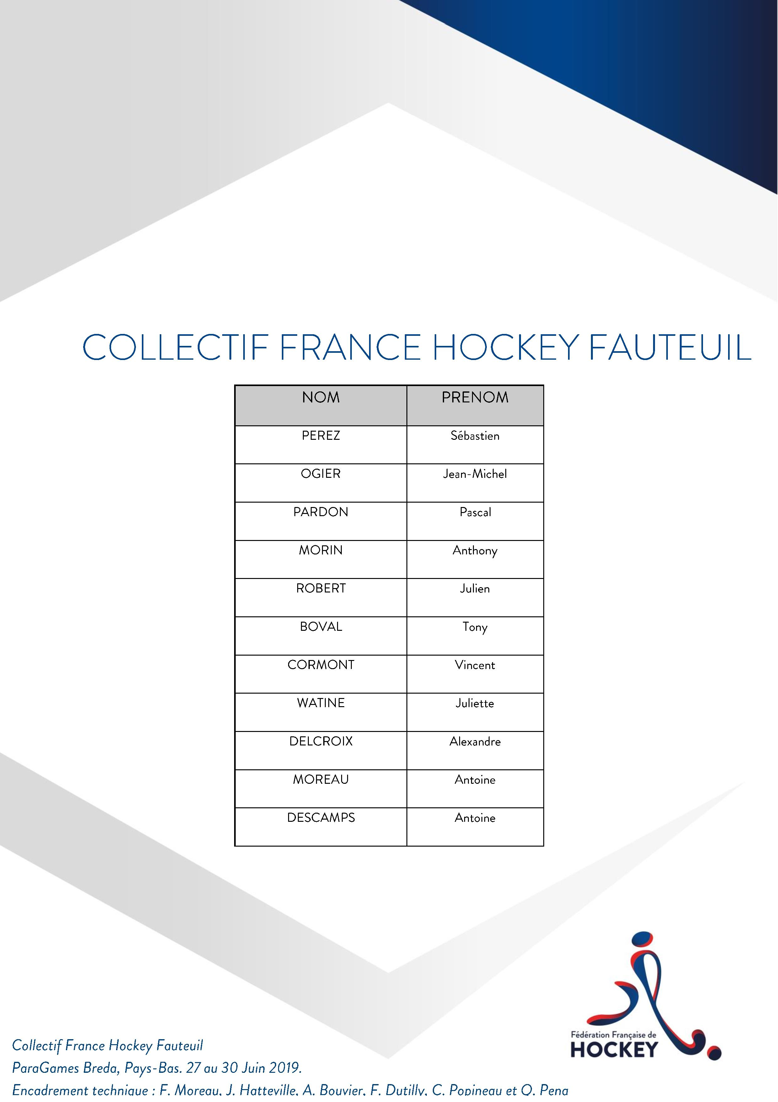 Selection France Hockey Fauteuil ParaGames Breda page 001
