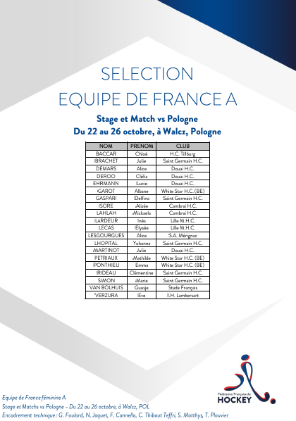 SELECTION EQUIPE DE FRANCE Stage et Matchs du 22 au 26 octobre Walcz