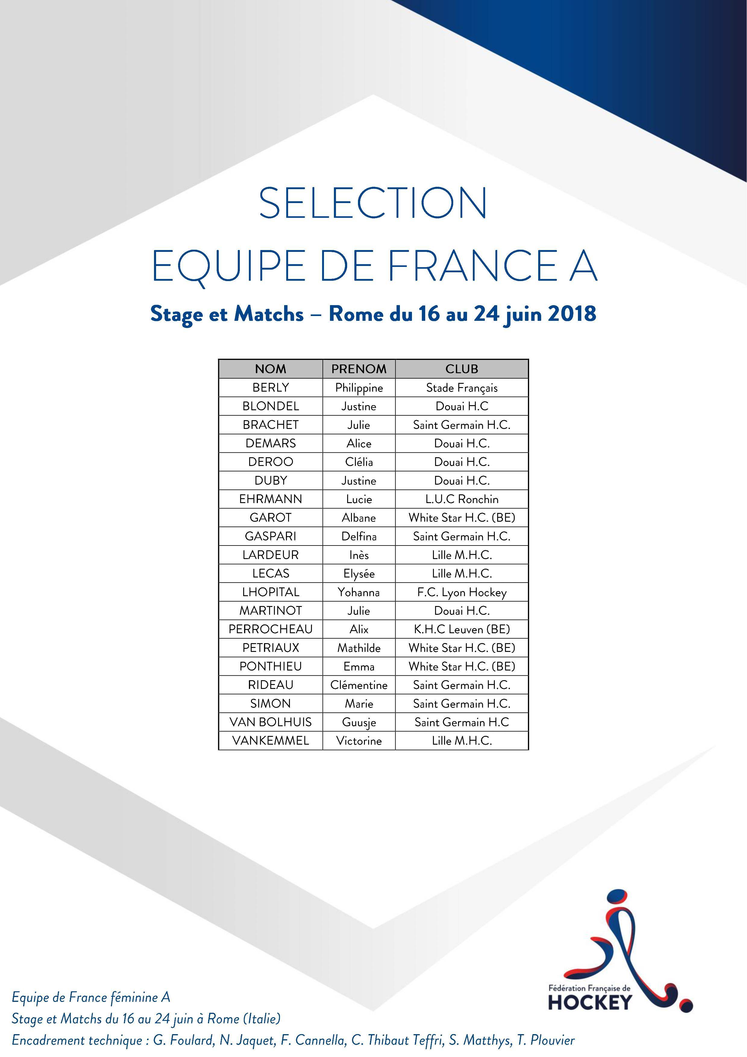 SELECTION EQUIPE DE FRANCE Hockey Rome 16 au 24 juin