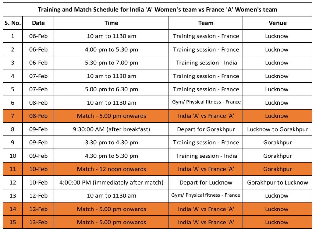 Training and Match Schedule for India A Women s team vs France A Women s team page 001