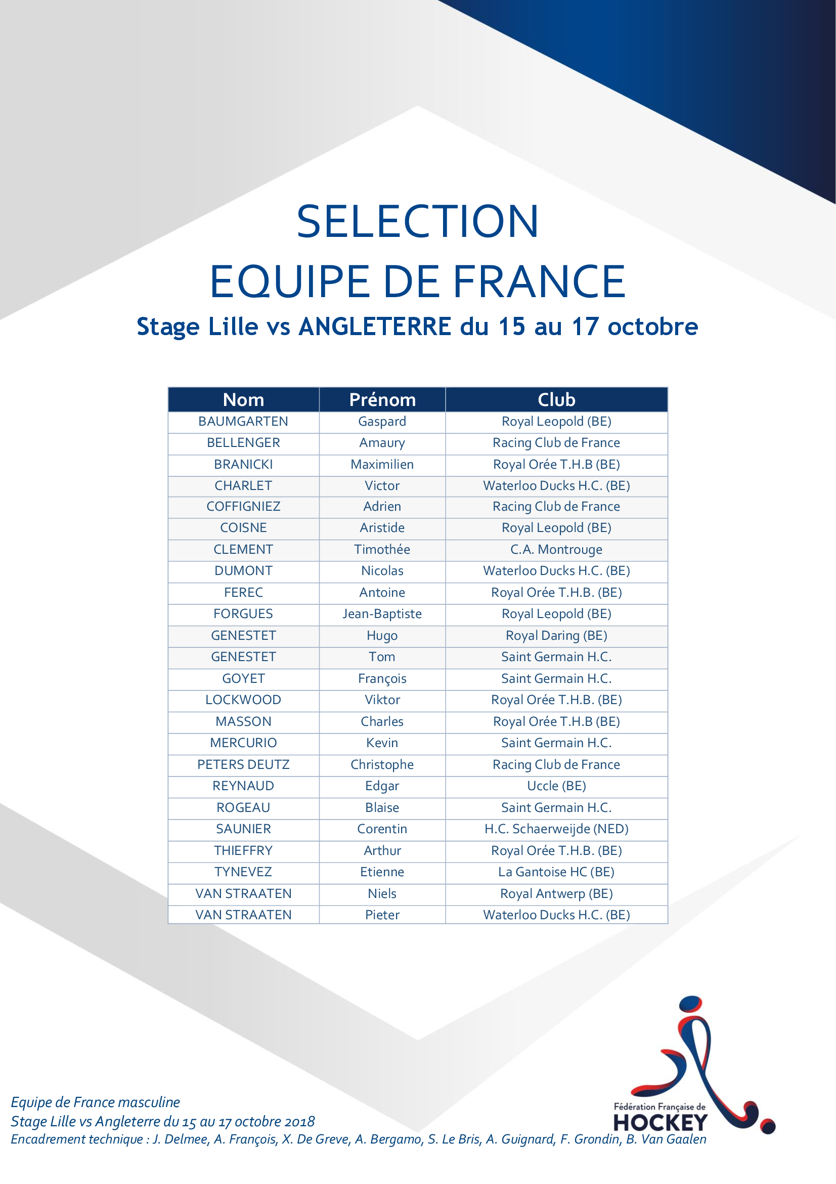 SELECTION EQUIPE DE FRANCE Matchs 15 au 17 octobre 2018 vs ENG