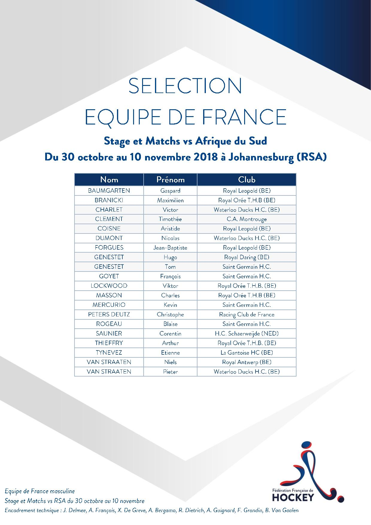 SELECTION EQUIPE DE FRANCE Stage et Matchs 1du 30 octobre au 10 novembre 2018 vs RSA